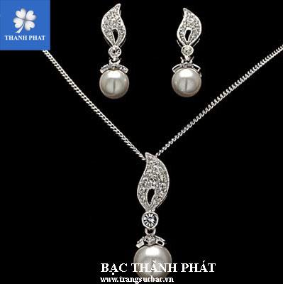 Bộ trang sức bạc ngọc trai STB058