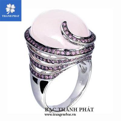 Mặt nhẫn thạch anh hồng UQ075