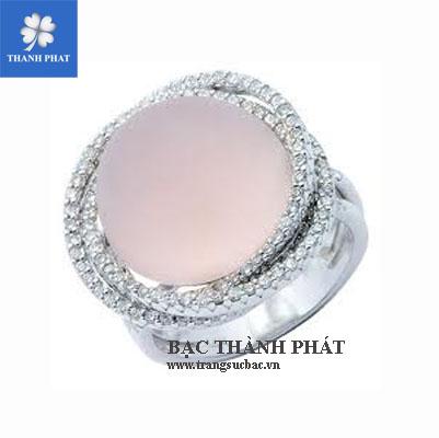 Mẫu nhẫn nữ đá hồng tròn UQ072