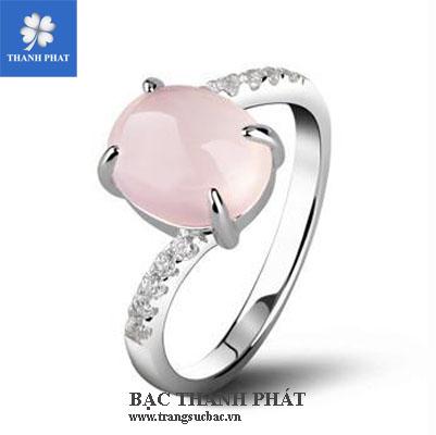 Nhẫn bạc nữ đá qúy hồng UQ078