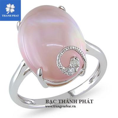 Nhẫn bạc nữ thạch anh hồng UQ077