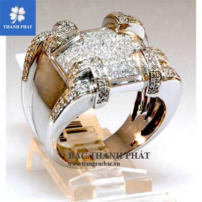 Nhẫn kim cương xi mạ vàng AD021
